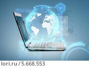 Купить «Раскрытый ноутбук с запущенным приложением», фото № 5668553, снято 14 ноября 2013 г. (c) Syda Productions / Фотобанк Лори
