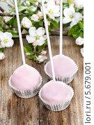Купить «Маленькие кексы в формочках с цветами на деревянном столе», фото № 5679001, снято 20 февраля 2019 г. (c) BE&W Photo / Фотобанк Лори