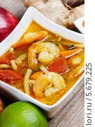 Тайский кислый и горячий суп с креветками в керамической тарелке. Стоковое фото, агентство BE&W Photo / Фотобанк Лори
