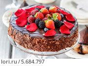 Купить «Шоколадный торт с клубникой на стеклянной подставке», фото № 5684797, снято 24 августа 2018 г. (c) BE&W Photo / Фотобанк Лори