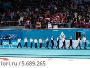 Купить «Награждение медалистов. Керлинг. Сочи. Олимпийские игры 2014», фото № 5689265, снято 22 февраля 2014 г. (c) Корчагина Полина / Фотобанк Лори