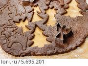 Купить «Подготовка рождественского шоколадного печенья с помощью формочек», фото № 5695201, снято 20 февраля 2019 г. (c) BE&W Photo / Фотобанк Лори