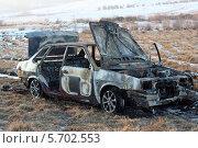 Сгоревший автомобиль ВАЗ 21099 (2011 год). Редакционное фото, фотограф Дмитрий Батталов / Фотобанк Лори