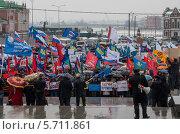 Люди на митинге в поддержку братского народа Крыма (2014 год). Редакционное фото, фотограф Сергей Канашин / Фотобанк Лори