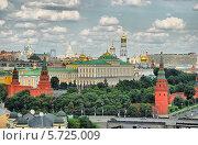 Купить «Вид на Московский Кремль со смотровой площадки храма Христа Спасителя», эксклюзивное фото № 5725009, снято 12 июля 2009 г. (c) lana1501 / Фотобанк Лори