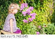 Девочка сидит на скамейке в цветущем саду. Стоковое фото, фотограф Евдокимова Ольга / Фотобанк Лори