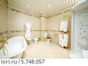 Купить «Чистая ванная комната с ванной, душевой кабиной, туалетом и биде в классическом стиле», фото № 5748057, снято 25 января 2013 г. (c) Losevsky Pavel / Фотобанк Лори