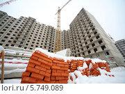 Купить «Куча кирпичей под снегом. Строительство домов зимой», фото № 5749089, снято 10 декабря 2012 г. (c) Losevsky Pavel / Фотобанк Лори