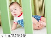 Купить «Маленький мальчик смотрит сквозь стенку кроватки», фото № 5749349, снято 27 марта 2013 г. (c) Losevsky Pavel / Фотобанк Лори