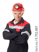 Портрет серьезного молодого шахтера. Стоковое фото, фотограф Viktor Gladkov / Фотобанк Лори
