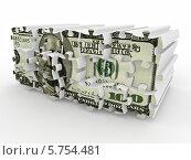 Купить «Объемный пазл из доллара», иллюстрация № 5754481 (c) Maksym Yemelyanov / Фотобанк Лори