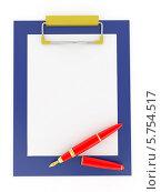 Купить «Авторучка и планшет с пустым листом бумаги», иллюстрация № 5754517 (c) Maksym Yemelyanov / Фотобанк Лори