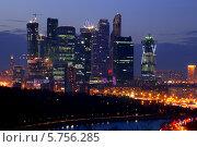 Купить «Ночная Москва. Вид с Воробьевых гор», фото № 5756285, снято 29 марта 2014 г. (c) Наталья Волкова / Фотобанк Лори