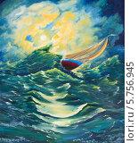 Купить «Одинокий парусник в штормовом море», иллюстрация № 5756945 (c) Олег Хархан / Фотобанк Лори
