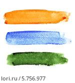 Три мазка цветной акварельной краской. Стоковая иллюстрация, иллюстратор Роман Сигаев / Фотобанк Лори