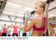 Купить «Улыбающаяся девушка выполняет упражнения с тяжелой металлической гантелью в спортивном зале», фото № 5760417, снято 23 марта 2013 г. (c) Syda Productions / Фотобанк Лори
