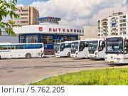 Купить «Городская автостанция в подмосковном городе Лыткарино», фото № 5762205, снято 12 июня 2012 г. (c) Владимир Сергеев / Фотобанк Лори