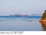 Купить «Грузовые корабли на рейде порта Находка», фото № 5767437, снято 12 сентября 2013 г. (c) Наталья Волкова / Фотобанк Лори