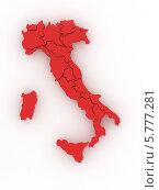 Купить «Красная объёмная карта Италии», иллюстрация № 5777281 (c) Maksym Yemelyanov / Фотобанк Лори