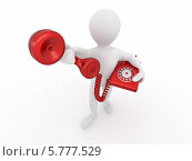 Купить «Человечек с дисковым телефоном, 3d», иллюстрация № 5777529 (c) Maksym Yemelyanov / Фотобанк Лори