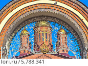 Купить «Ажурная кованая решетка ворот православного храма в Подмосковье», фото № 5788341, снято 8 апреля 2014 г. (c) Владимир Сергеев / Фотобанк Лори