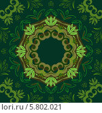 Зеленый фон с круглым растительным орнаментом. Стоковая иллюстрация, иллюстратор Helen Burceva / Фотобанк Лори
