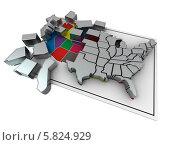 Купить «Пазл в форме карты США», иллюстрация № 5824929 (c) Maksym Yemelyanov / Фотобанк Лори