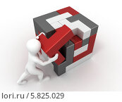 Купить «Человечек составляет куб из пазлов, 3d», иллюстрация № 5825029 (c) Maksym Yemelyanov / Фотобанк Лори