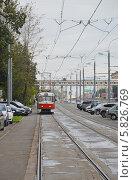 Купить «Трамвай в начале Волоколамского шоссе (Москва)», фото № 5826769, снято 11 сентября 2013 г. (c) Александр Замараев / Фотобанк Лори
