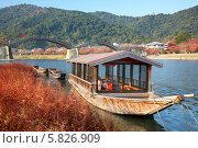 Купить «Лодка на фоне моста Kintai на реке Nishiki в Японии», фото № 5826909, снято 25 ноября 2007 г. (c) Serg Zastavkin / Фотобанк Лори