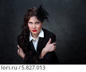 Стильная девушка в шляпке с вуалью. Стоковое фото, фотограф Николай Тоцкий / Фотобанк Лори
