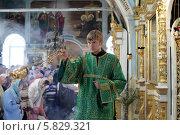 Купить «Дьякон кадит в праздник Вербное воскресение. Подмосковье», эксклюзивное фото № 5829321, снято 13 апреля 2014 г. (c) Дмитрий Неумоин / Фотобанк Лори