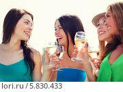Купить «Веселые подруги с бокалами шампанского в руках», фото № 5830433, снято 4 июля 2013 г. (c) Syda Productions / Фотобанк Лори