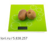 Купить «Два плода киви на кухонных весах», фото № 5838257, снято 27 ноября 2013 г. (c) Сергей Сухоруков / Фотобанк Лори