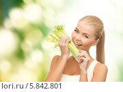 Купить «Молодая привлекательная женщина-вегетарианка ест салат», фото № 5842801, снято 23 марта 2013 г. (c) Syda Productions / Фотобанк Лори