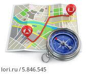 Купить «Концепция навигации. Компас и карта», иллюстрация № 5846545 (c) Maksym Yemelyanov / Фотобанк Лори