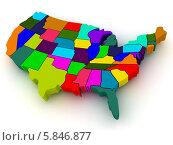 Купить «Карта США сложенная из штатов, 3d», иллюстрация № 5846877 (c) Maksym Yemelyanov / Фотобанк Лори