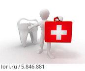 Купить «Стоматология. Человечек с чемоданчиком и зуб, 3d», иллюстрация № 5846881 (c) Maksym Yemelyanov / Фотобанк Лори