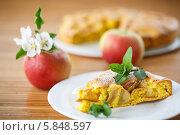 Купить «Яблочный пирог с миндалем и мятой», фото № 5848597, снято 27 апреля 2014 г. (c) Peredniankina / Фотобанк Лори