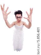 Купить «Смешной мужчина в женской одежде на белом фоне», фото № 5856401, снято 9 апреля 2013 г. (c) Elnur / Фотобанк Лори