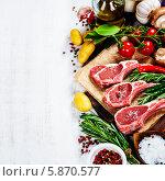 Купить «Сырая баранина и специи на доске», фото № 5870577, снято 27 февраля 2014 г. (c) Наталия Кленова / Фотобанк Лори