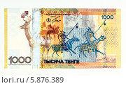 Купить «Новая юбилейная денежная купюра Республики Казахстан номиналом 1000 тенге», фото № 5876389, снято 5 мая 2014 г. (c) Анатолий Труков / Фотобанк Лори