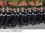 Купить «Матросы морской пехоты маршируют на Красной площади, Москва», эксклюзивное фото № 5880521, снято 7 мая 2014 г. (c) Алексей Гусев / Фотобанк Лори