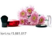 Купить «Цветы хризантемы, тени для век и пудра с кисточкой на белом фоне», фото № 5881017, снято 6 мая 2014 г. (c) Александр Самолетов / Фотобанк Лори