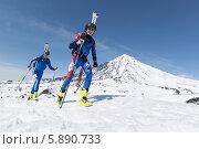 Купить «Ски-альпинисты поднимаются на вулкан. Соревнования по ски-альпинизму, индивидуальная гонка», фото № 5890733, снято 26 апреля 2014 г. (c) А. А. Пирагис / Фотобанк Лори