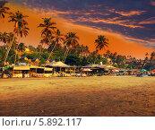 Купить «Индия. Гоа. Пляж на закате», фото № 5892117, снято 4 февраля 2014 г. (c) Куликов Константин / Фотобанк Лори
