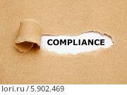 Купить «Надпись Compliance в разрыве серой бумаги», фото № 5902469, снято 20 июля 2013 г. (c) Ивелин Радков / Фотобанк Лори