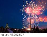 Купить «Праздничный салют 9 мая 2014 на Поклонной горе», фото № 5902597, снято 9 мая 2014 г. (c) Valeriy Lukyanov / Фотобанк Лори
