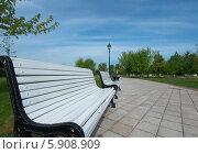 Скамейки и прогулочная дорожка в парке Царицыно (2014 год). Редакционное фото, фотограф Юрий Баулин / Фотобанк Лори