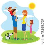 Счастливая семья на лужайке с собакой. Стоковая иллюстрация, иллюстратор Константин Костенко / Фотобанк Лори